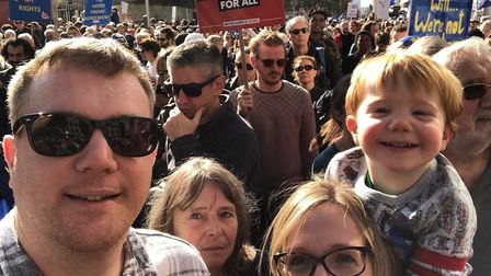 Ethan Taylor with his parents Andrew and Sally Taylor on the People's Vote march. Picture: SALLY TAY