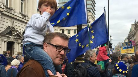 Ethan Taylor with his dad Andrew Taylor on the People's Vote march. Picture: SALLY TAYLOR