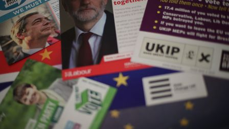 Election campaign literature from the Brexit Party, Labour, the Green Party, Change UK and UKIP for the European...
