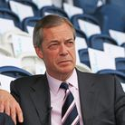 Nigel Farage at a Brexit Party rally at Mill Farm Sports Village, Wesham, Lancashire. Photograph: Pe