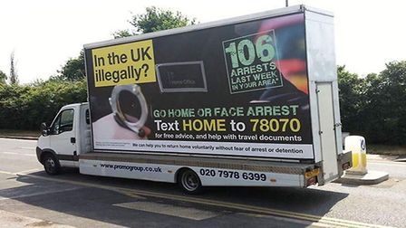 The Home Office's 'go home' vans. Photograph: Home Office/PA.