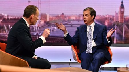 Nigel Farage on the BBC's Andrew Marr Show. Photograph: Jeff Overs/BBC.
