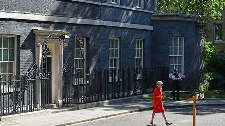Prime Minister Theresa May making a statement outside at 10 Downing Street in London. PRESS ASSOCIATION Photo. Dominic...