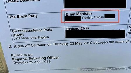 Brexit Party candidate Brian Monteith listed a French address in election notices and has not confir