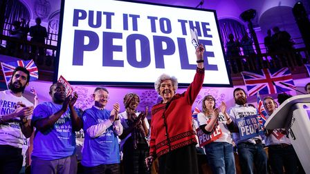 Former Speaker of the House of Commons Baroness Boothroyd speaks at a 'People's Vote' rally calling