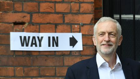Labour leader Jeremy Corbyn outside the polling station in Islington where he voted in the European