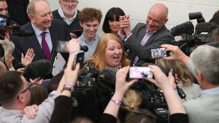Alliance party leader and candidate Naomi Long (centre), at the European Parliamentary elections cou