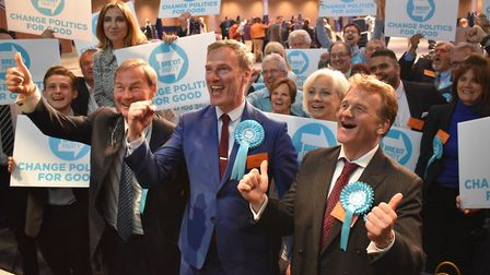 The Brexit Party's Martin Daubney poses for pictures alongside supporters at Birmingham's Internatio