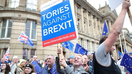Anti-Brexit campaigners outside Conservative Party annual conference. Photograph: Aaron Chown/PA.