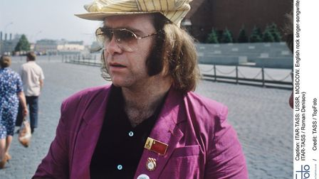 English rock singer-songwriter, composer, and pianist Elton John seen in Red Square during his tour