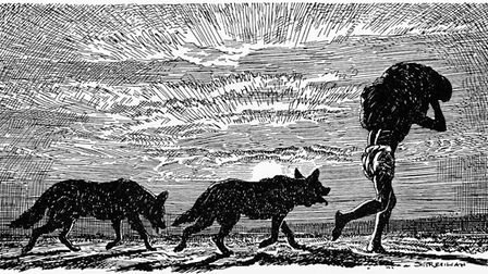 'Mowgli, with two wolves at his heels and a bundle on his head'. Photo by Culture Club/Getty Images.