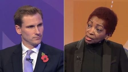 Justice minister Chris Philp (L) and columnist Bonnie Greer on Question Time