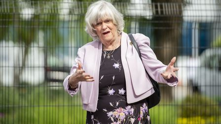 Brexit party member Ann Widdecombe leaves the Sky studios. Photograph: David Mirzoeff/PA Wire.