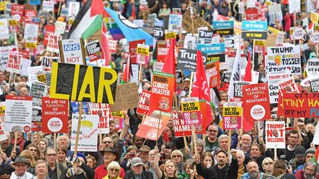 Protesters in Trafalgar Square, London on the second day of the state visit to the UK by US Presiden