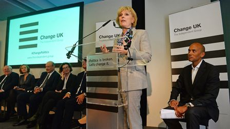 Anna Soubry, watched by Chuka Umunna and other Change UK party members, speaks during a Change UK ra