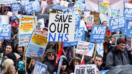 Tens of thousands of protesters march on Downing Street against privatisation of the NHS. Photograp