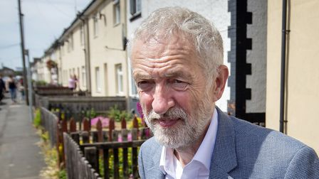 Labour leader Jeremy Corbyn during campaigning in Peterborough ahead of the by-election. (Danny Laws