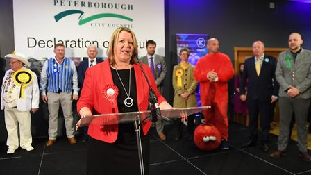 Newly elected Labour MP Lisa Forbes gives her winners speech after the count for the Peterborough by-election. (Joe...
