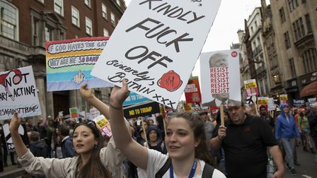 Protestors get their point across in demonstrations across London against Trump's state visit. Photo