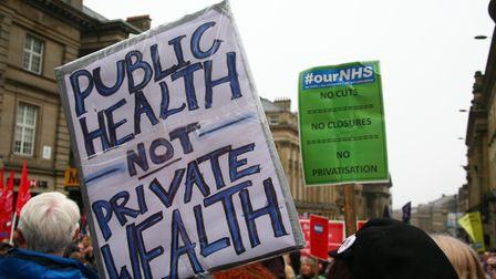 Protesters protest against NHS privatisation. Photograph: David Whinham/PA.