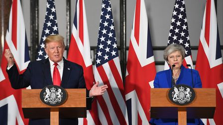 Donald Trump and Theresa May. Photograph: Stefan Rousseau/PA.