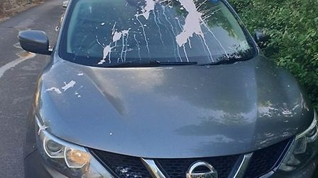 A car and an EU flag were vandalised after the EU elections in Wiltshire. Picture: Pete Creese
