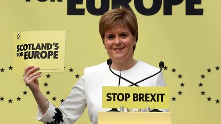 First Minister Nicola Sturgeon at the launch of the SNP's European manifesto in Glasgow. Photograph: