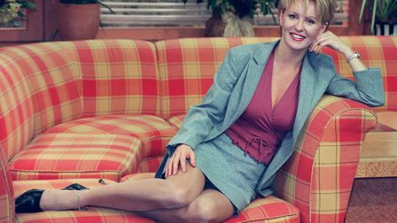 Esther McVey trying out the GMTV couch before she took over from Fiona Phillips as a presenter. Phot