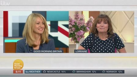 Lorriane Kelly is asked about Esther McVey. Photograph: Good Morning Britain.
