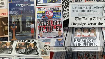 Coverage of Brexit on the front pages of newspapers in the early days. Photograph: TNE.