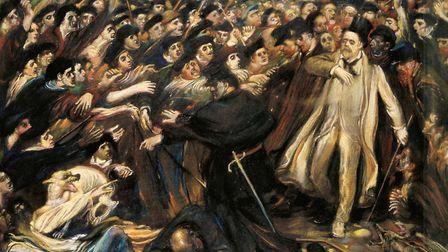 'Zola, Insulted' by Henry de Groux, 1898. It shows gauntlet of crowds after the publication of J'Acc