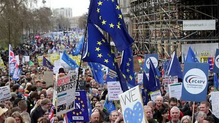 The People's Vote march making its way through central London (Pic: Yui Mok/PA Wire)