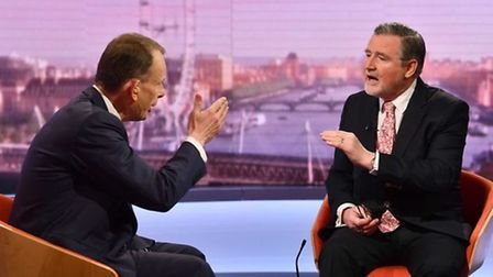 Shadow international trade secretary Barry Gardiner on the Andrew Marr show. Picture: Jeff Overs/BBC