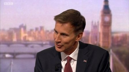 Jeremy Hunt on BBC1's Andrew Marr show on Sunday, June 16. Picture: BBC