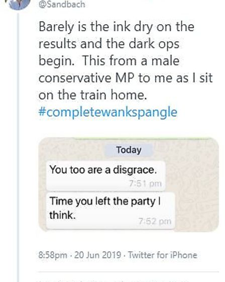 Antoinette Sandbach's tweet showing WhatsApp messages which she says were sent to her by a fellow MP