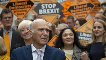 Liberal Democrats leader Sir Vince Cable with activists in Chelmsford. Photograph: David Mirzoeff/PA