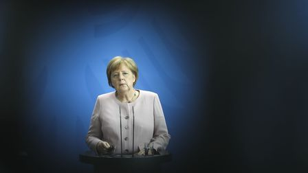 German Chancellor Angela Merkel attends a joint news conference with Ukrainian President Volodymyr Z