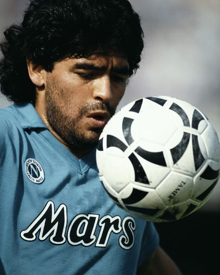 NAPLES, ITALY - JANUARY 01: SSC Napoli player Diego Maradona pictured controlling the ball during a