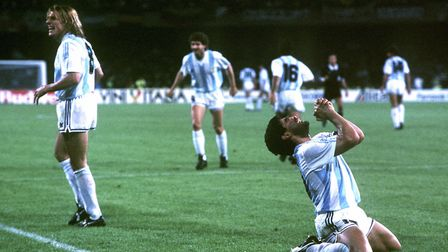 Legendary champion Diego Maradona overwhelmed with joy after scoring a goal for Argentina during the