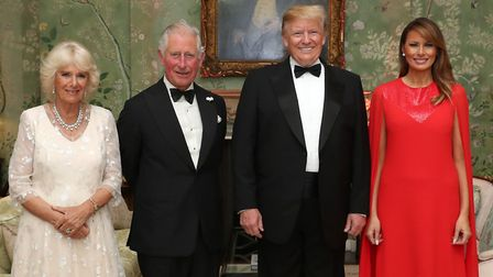 The Prince of Wales and the Duchess of Cornwall with US President Donald Trump and his wife Melania