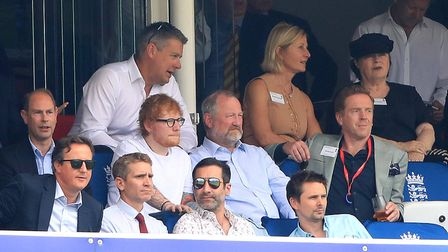 David Cameron had earlier been relaxing with Prince Edward, Ed Sheeran and Damian Lewis before he me