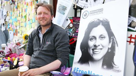 Richard Ratcliffe, the husband of detained Nazanin Zaghari Ratcliffe, outside the Iranian Embassy in