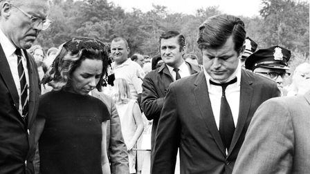 Plymouth, PA: Senator Ted Kennedy (right) wears a neck brace as he and his sister-in-law Ethel Kenne