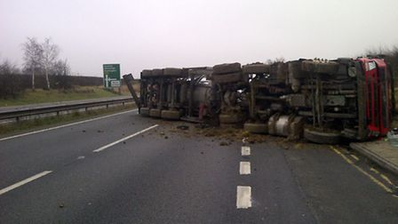 The overturned tanker at Bythorn. Picture: Cambridgeshire Fire and Rescue Service.