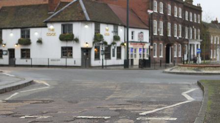 Pothole at the top of St Peter's St near the roundabout
