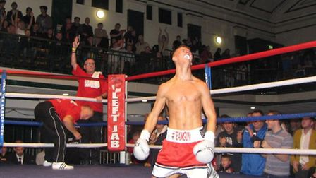 GREAT START: Tommy Martin celebrates his debut professional win in Bethnal Green.