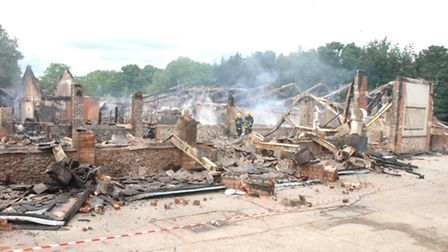 The scene of the devastation at Chilford Hall