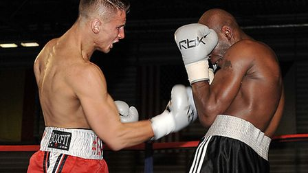 Tommy Martin from St Neots in his fight with Jason Nesbitt at the Peterborough Arena. Picture: Steve