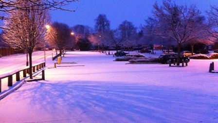Snow falling at the town hall car park, Royston, on Monday morning