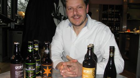 Andrei Lussmann with his beer selection